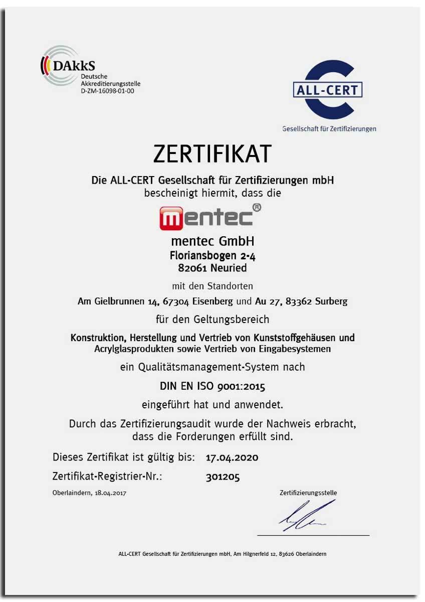 mentec-ISO-Zertifikat nach DIN EN ISO 9001