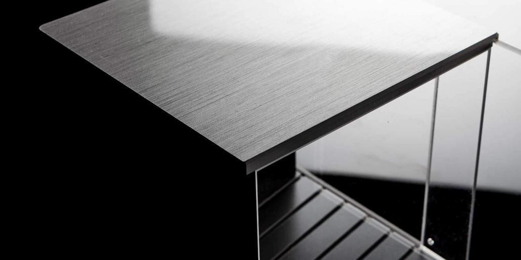 Cube-Gehäuse mit Acryl und Designoptik Edelstahl gebürstet von mentec®