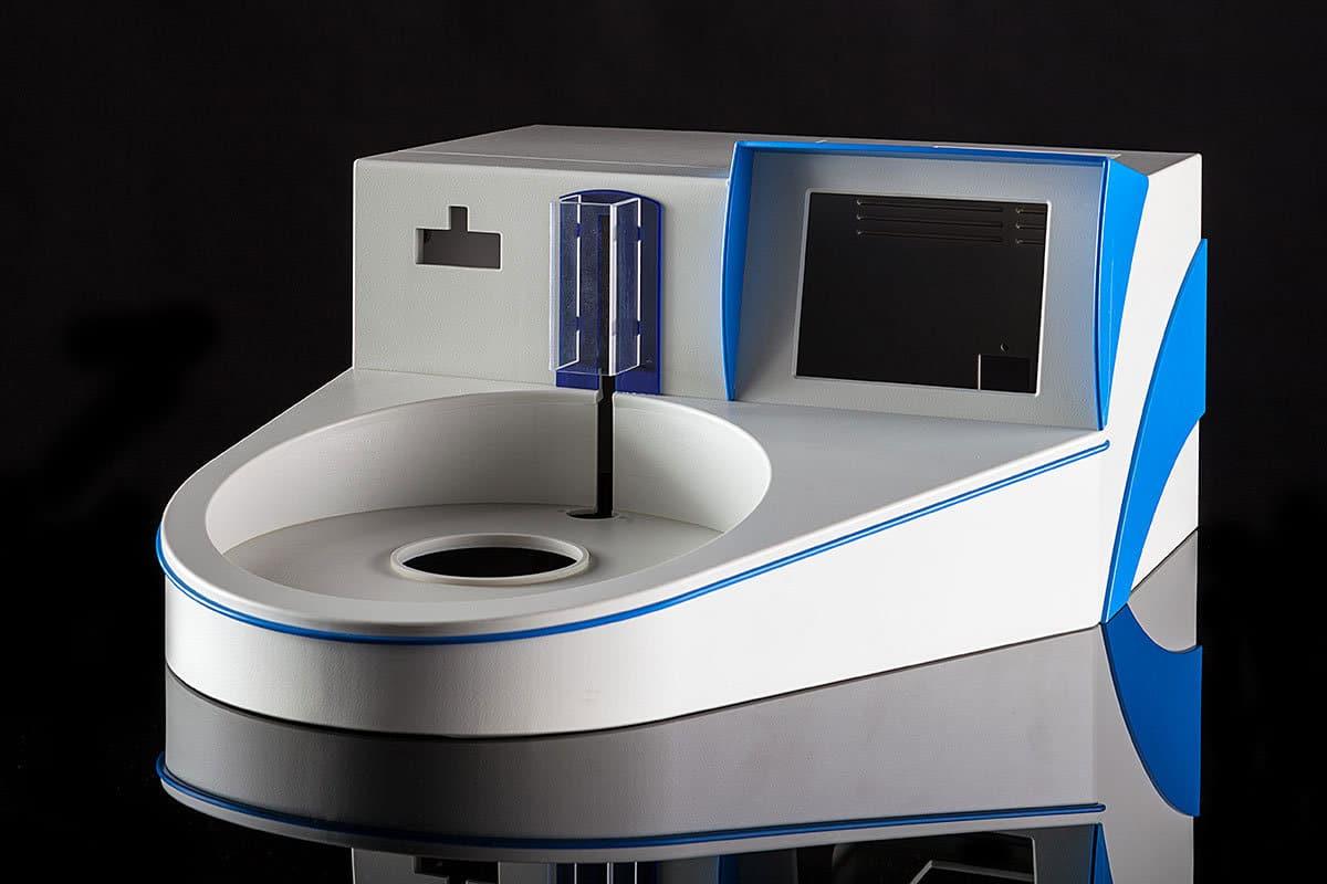 Kunststoffgehäuse Medizintechnik rund und blau-grau von mentec®