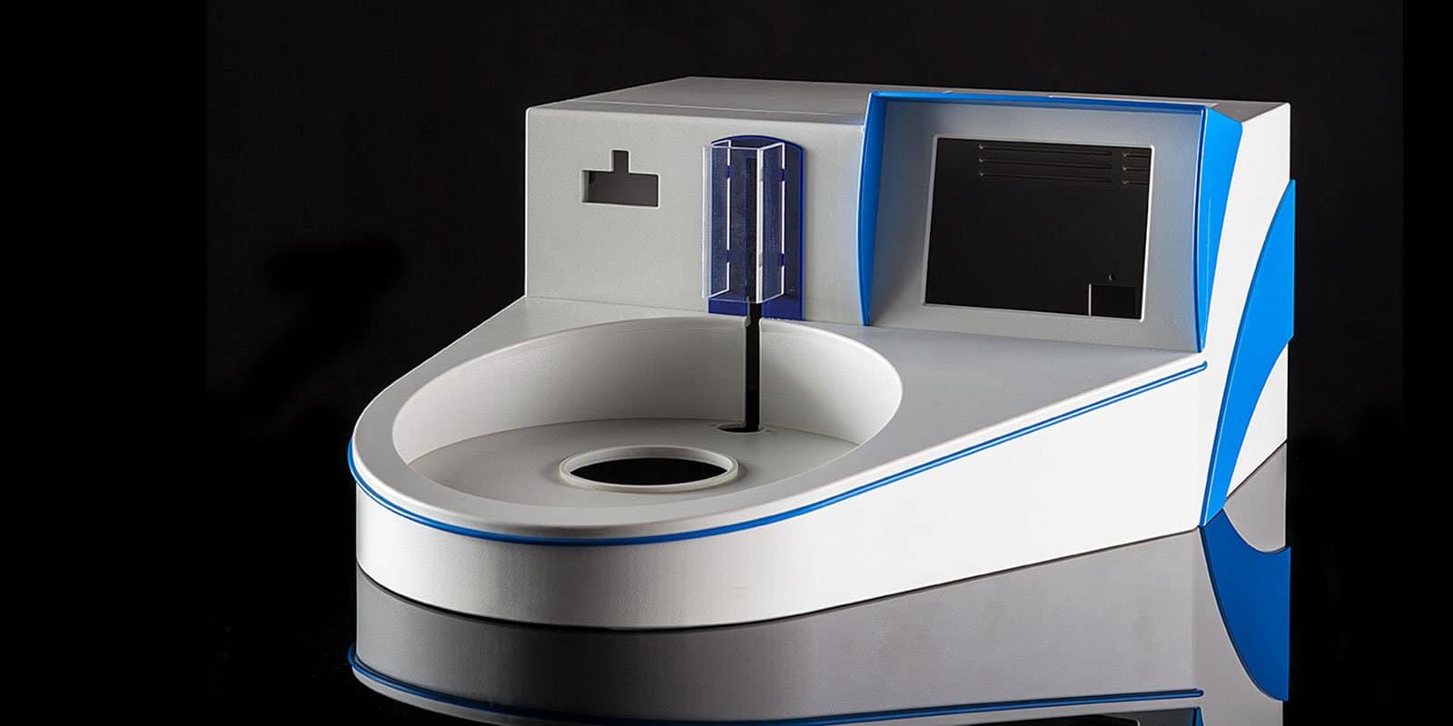 Kunststoffgehäuse rund und blau-grau von mentec®
