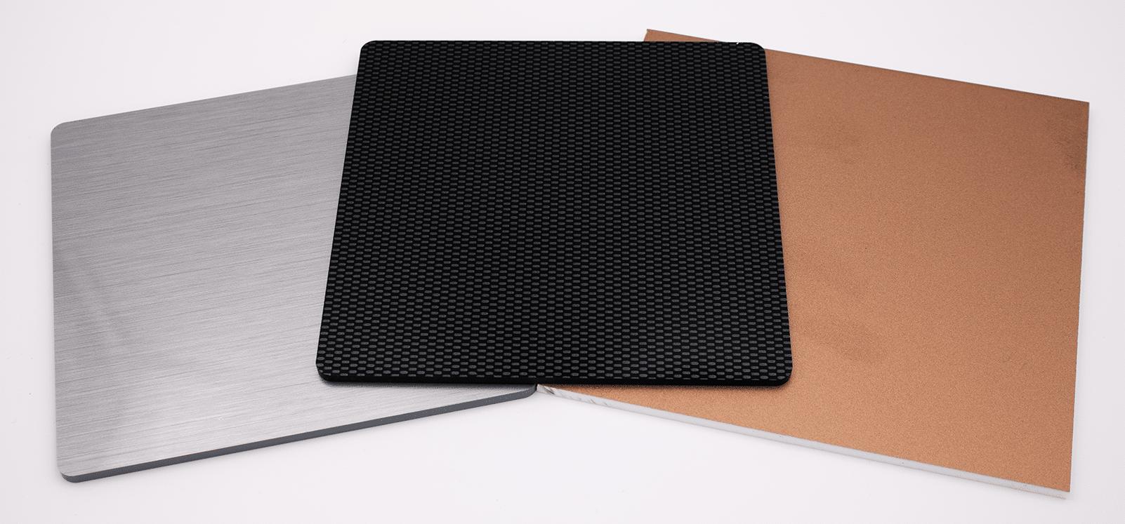 Materials science of plastic housings: Polystrol brushed aluminum material, carbon look, EMC paint