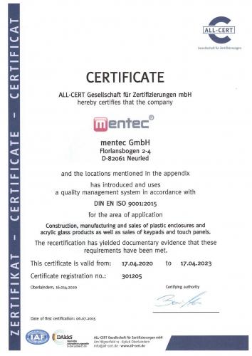 mentec ISO Zertifizierung